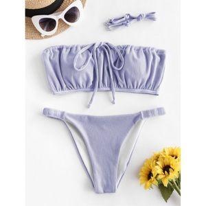 ZAFUL Purple Ribbed Low Waisted Tube Top Bikini L